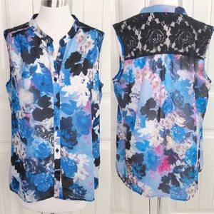 Kut From the Kloth Blue Floral Lace Sleeveless Top